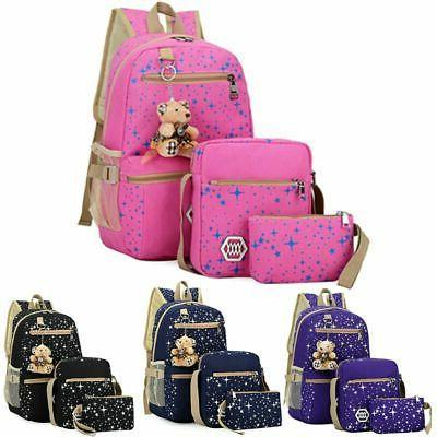 3pcs set women girls school backpack canvas