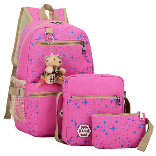 3Pcs School Backpack Bag Satchel