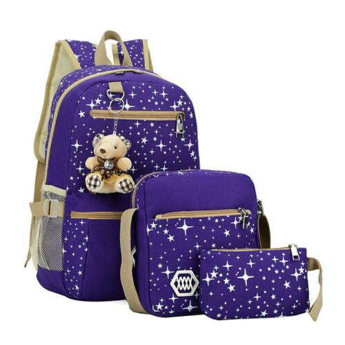 3Pcs Girls School Backpack