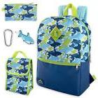 Boy's Kids 5 in 1 Full Size Backpack Set  Blue Green Multico
