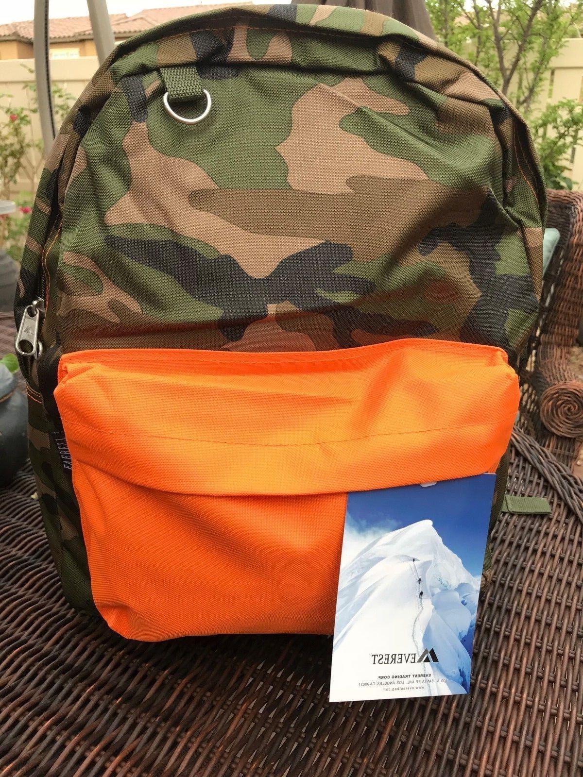 Everest Classic Woodland Camo Backpack, Camouflage & Orange