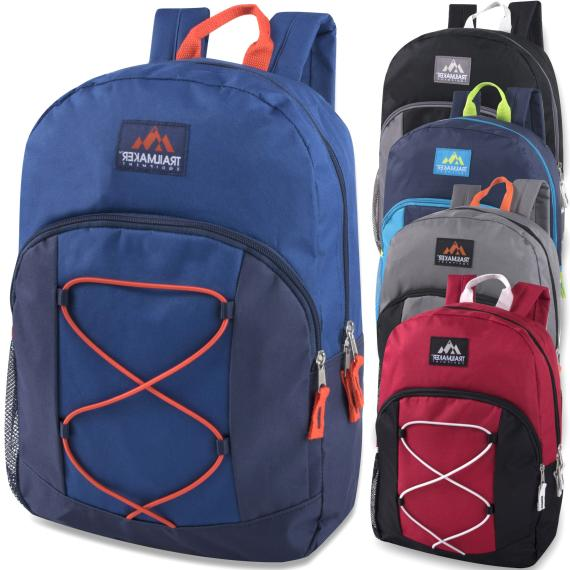 Case of 24 Wholesale 17 Inch Backpacks with Bungee 5 Colors