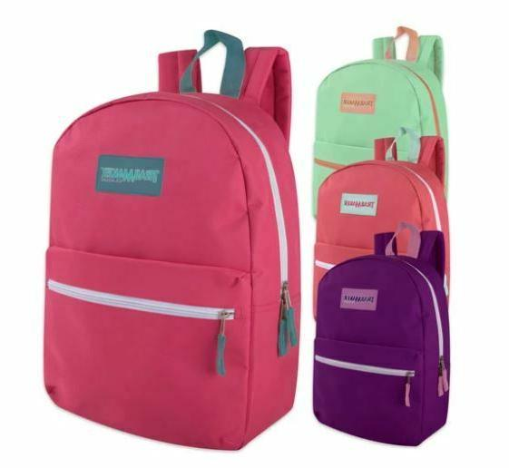 Lot of 24 Wholesale  17 Inch Backpacks for Girls in 4 Colors