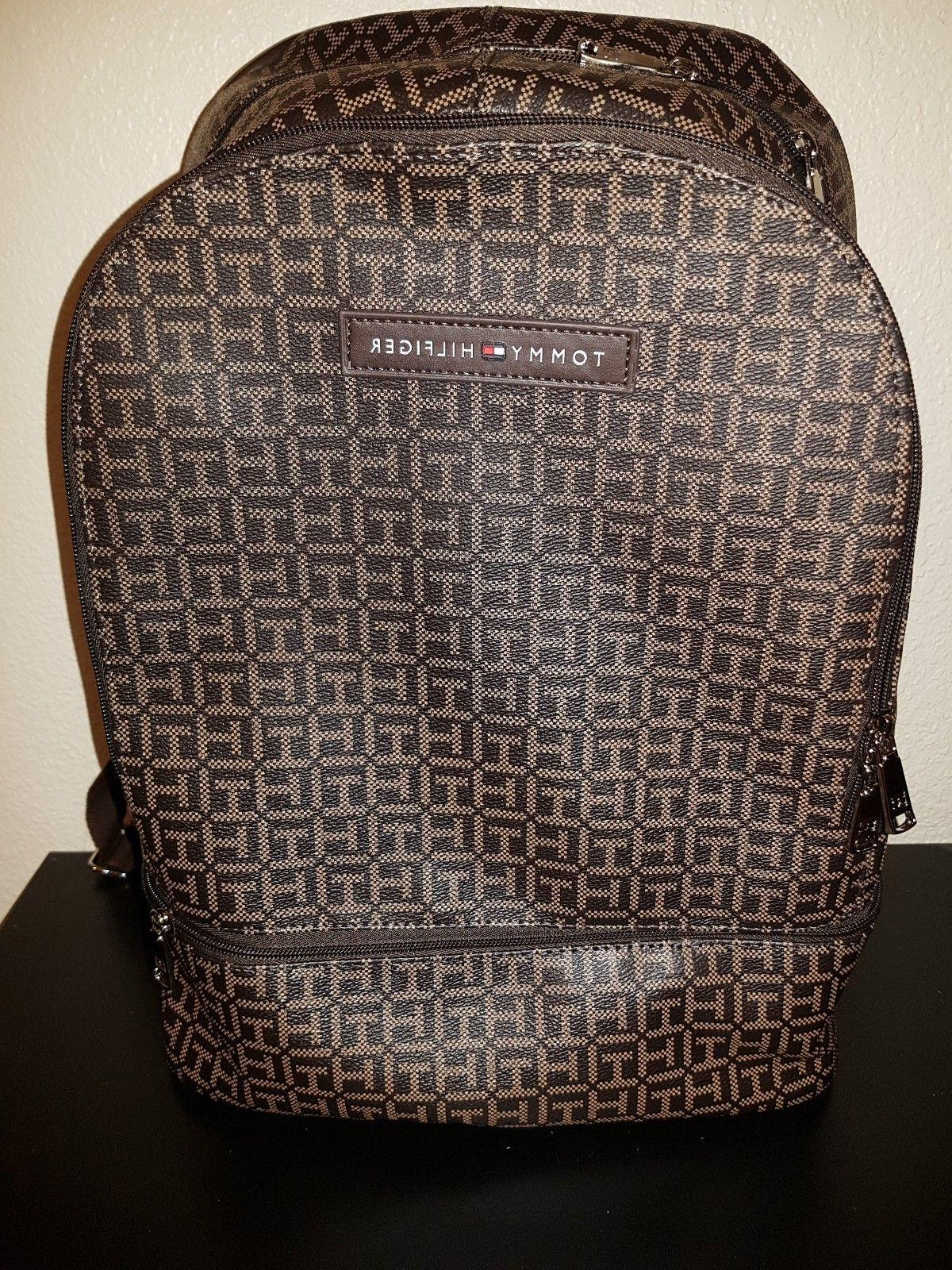 Tommy Hilfiger Brown Luxury Dome Backpack 3 Pockets Book B