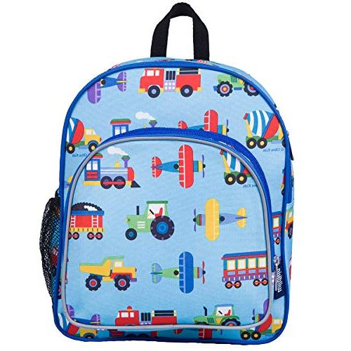 Wildkin 12 Inch Backpack, Pocket and Mesh Water for Preschool, Day Olive Design Trains, Trucks