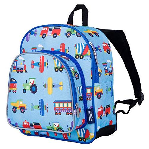 Wildkin Backpack, Includes Front Pocket Water Perfect for Preschool, Day Trips, Olive Design Trains, Trucks