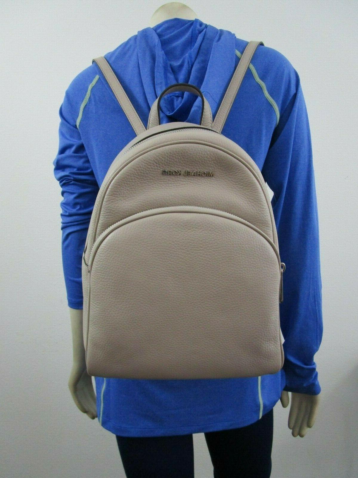 Michael Kors Abbey Medium Backpack Leather Cement Grey Signa