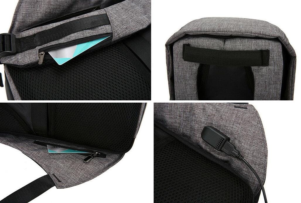 """Anti-Theft Backpack USB Charge 15"""" Laptop School"""