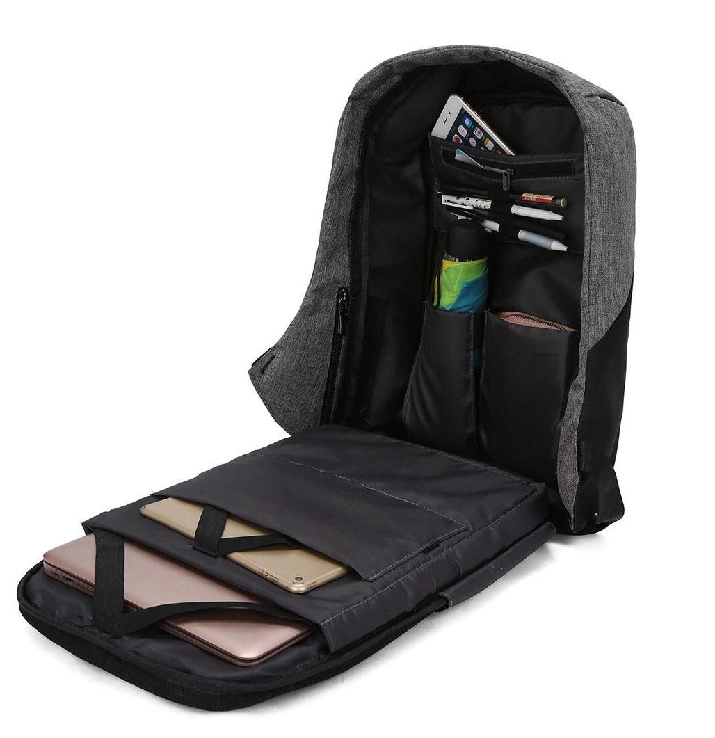 "Anti-Theft External USB Charge 15"" Laptop School Bag"