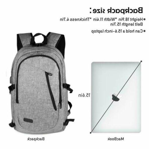 """Anti-Theft Mens Backpack External USB 17"""" Casual"""