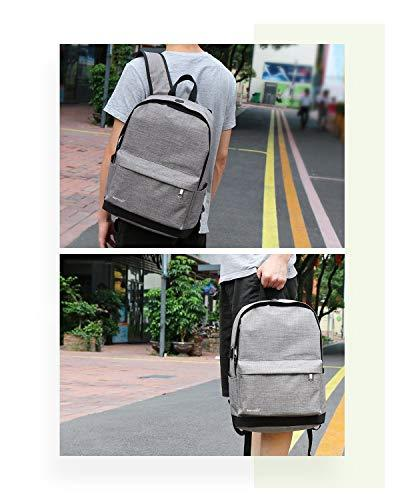 Backpack, Water Backpack with USB Port Canvas Student Fits 15.6 Laptop Travel Outdoor Camping Grey