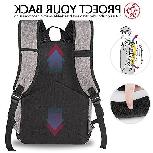 Backpack, Backpack USB Port for Fits 15.6 Inch and Notebook, Travel Outdoor Grey