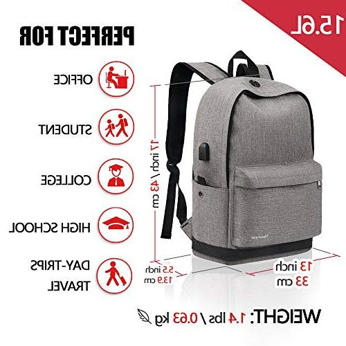 Backpack, Backpack Port Canvas Fits Inch Laptop and Notebook, Daypack for Travel Camping Grey
