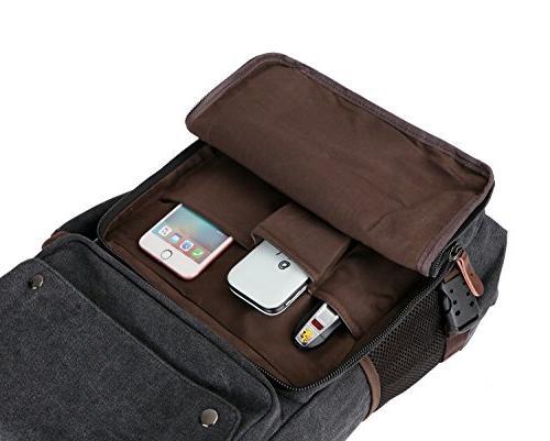 BAOSHA Men's Messenger Bag Convertible Vintage Canvas Laptop Backpack 15.6 Laptop Bags Handbag Hiking