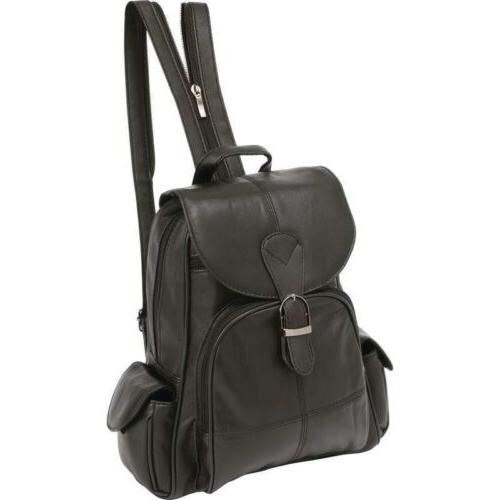 black solid genuine leather backpack