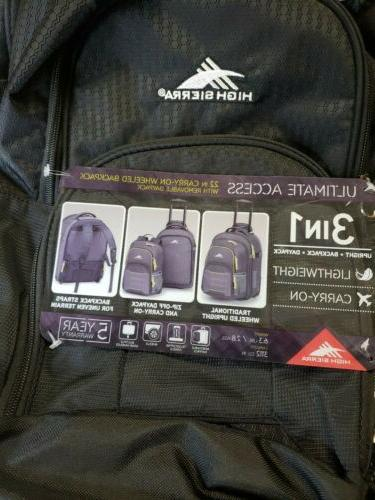 High Business 22 Wheeled Carry-On & Backpack Luggage DayPack 6 lb