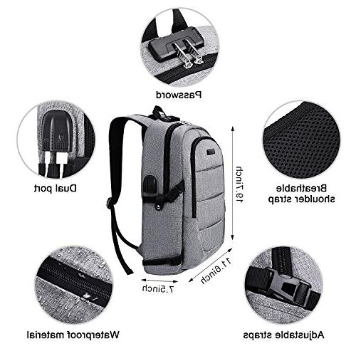 Laptop Backpack, Business Theft Waterproof Travel with USB & Headphone interface College for Women Men,Fits Under Laptop Notebook