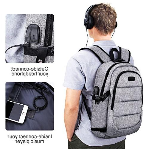 Laptop Backpack, with & interface for College Student Men,Fits Under Notebook