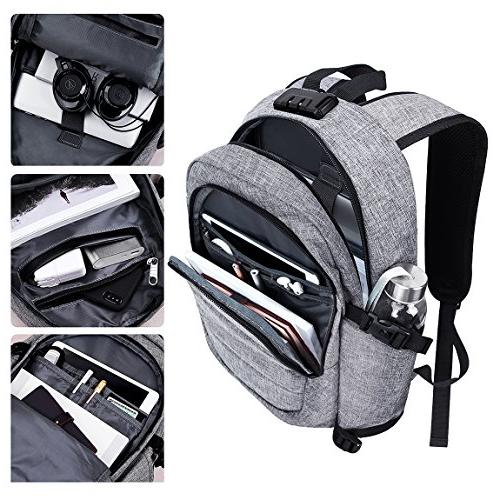 Laptop Backpack, Theft with Charging Port College Notebook