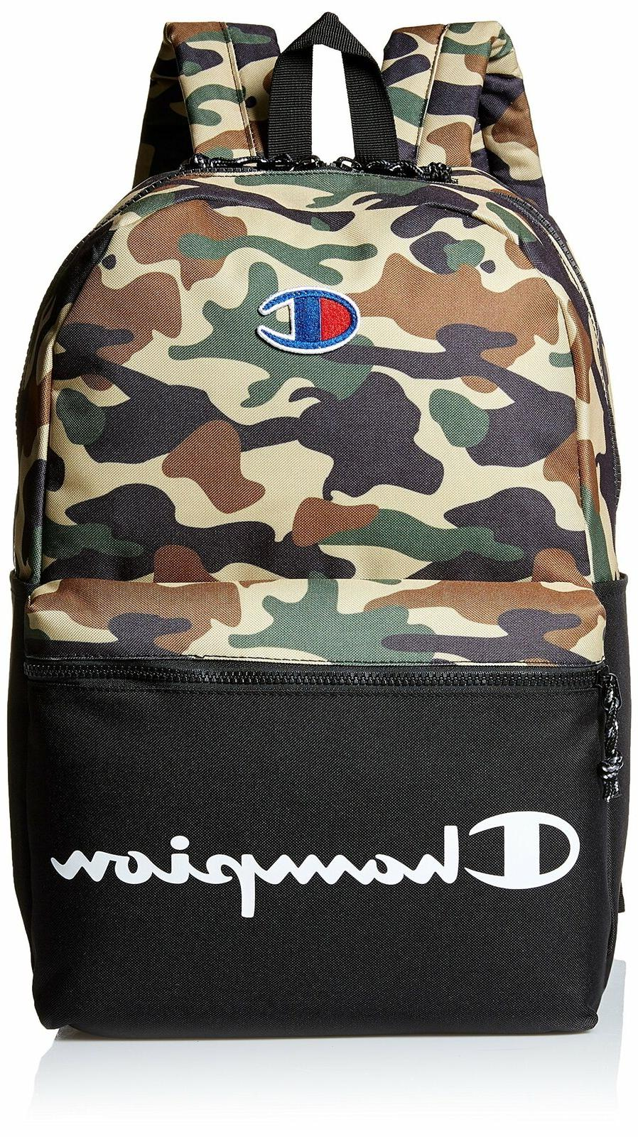camo and black green backpack logo laptop