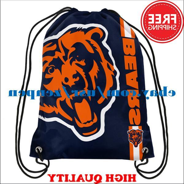 Chicago Bears Logo Drawstring Backpack Fan Gym Sport Bag 35*