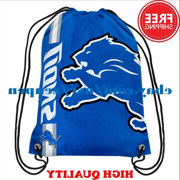 Detroit Lions Logo Drawstring Backpack Fan Gym Sport Bag 35*