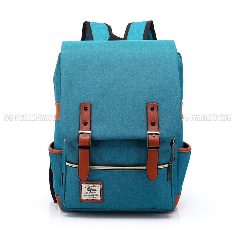 Canvas Leather Travel Backpack Rucksack for Women Men
