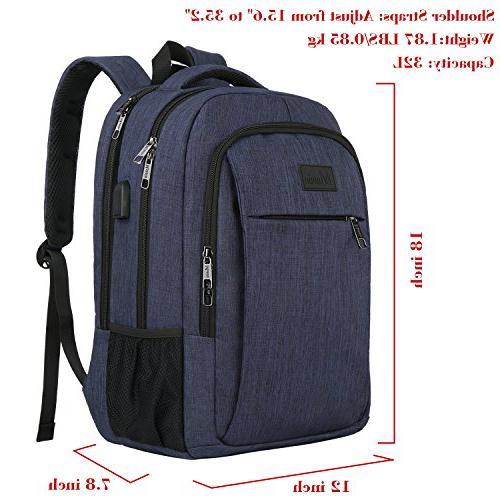 Laptop Charging Port,Slim Travel Backpack with Laptop Men College School BookBag Computer Bag Girls and Boys Fits 15.6 Laptop,Macbook