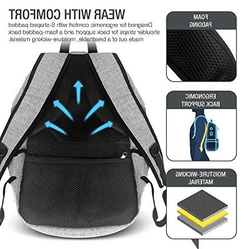XDesign Laptop Backpack with USB Charging Port +Anti-Theft College Computer Bookbag Camping&Fits to Notebook