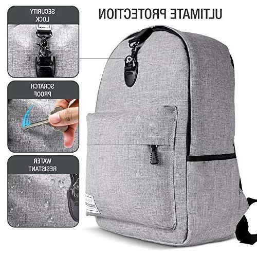 XDesign with Charging +Anti-Theft Lock College Bookbag for Women, Men, Outdoor Camping&Fits Notebook -Grey