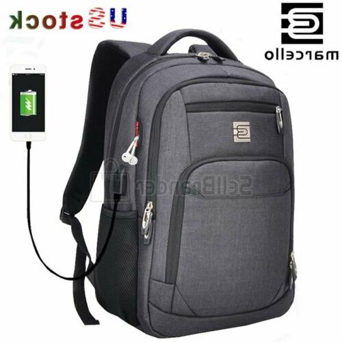MARCELLO Backpack Travel College School USB Port