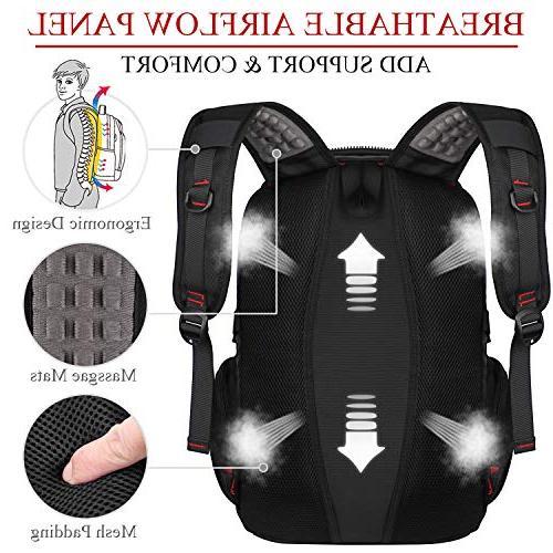 Large Friendly Travel Backpacks with Port Men Women School Business Bookbag Notebook Black