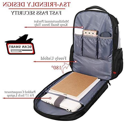 Large Backpack TSA Friendly Backpacks USB Port for Men Women School Backpack Notebook