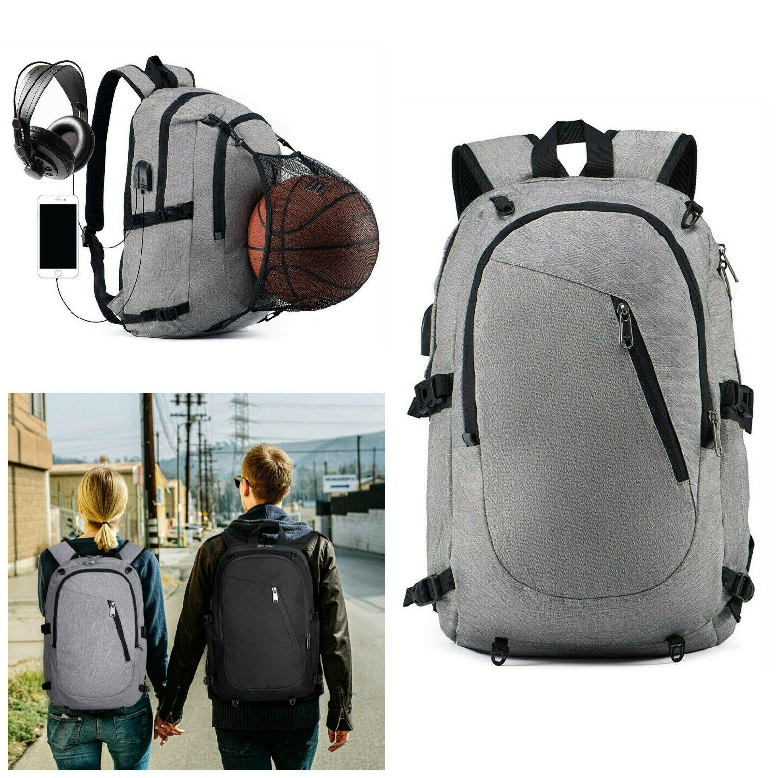 Laptop Backpack With USB Charging Port Men Women Slim Access