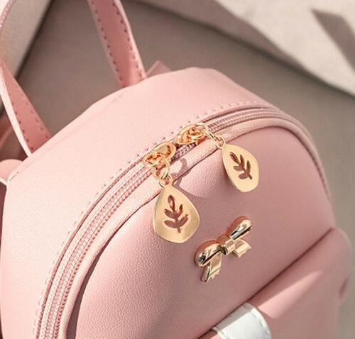 Lovely Bowknot Backpack Cute Solid