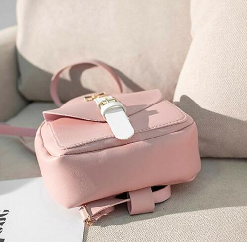Lovely Women Girls Mini Bowknot Backpack Cute Solid Bags Zipper