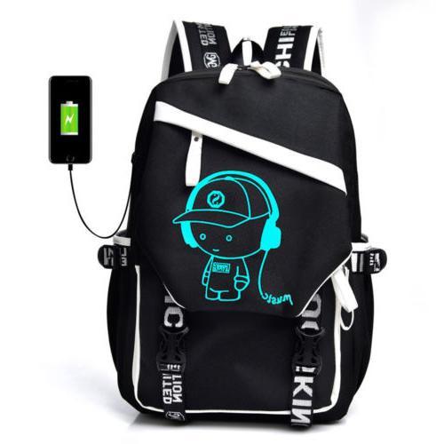 luminous anti theft backpack bookbag cool school