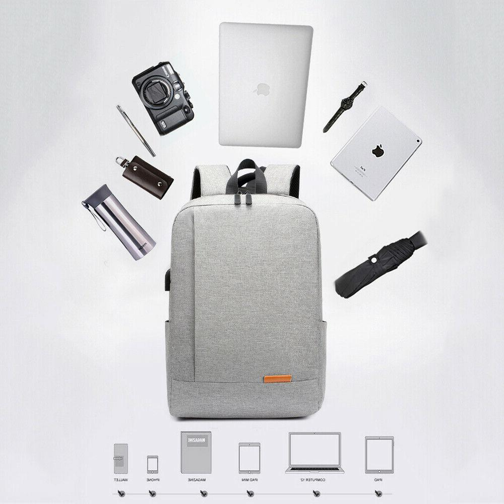 Men Anti-theft USB Charger Port Backpack Laptop Notebook