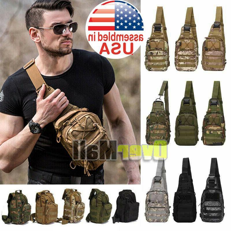 men backpack molle tactical sling chest bag