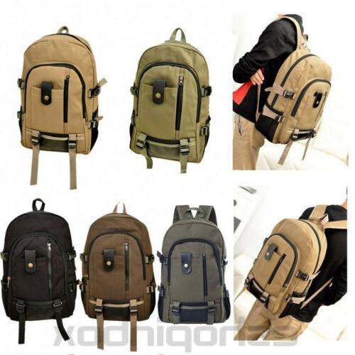men canvas backpack rucksack travel sport hiking