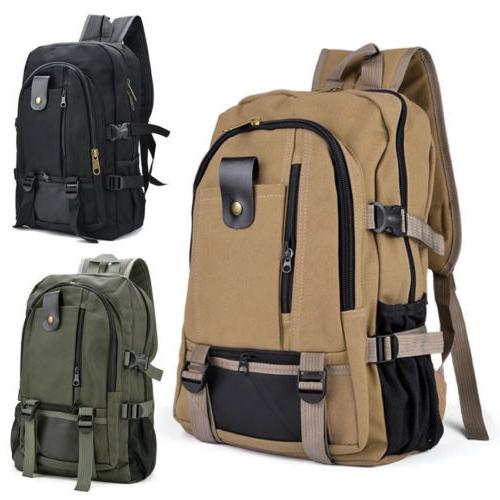 Men Retro Canvas Backpack Rucksack Travel Sport Schoolbag La