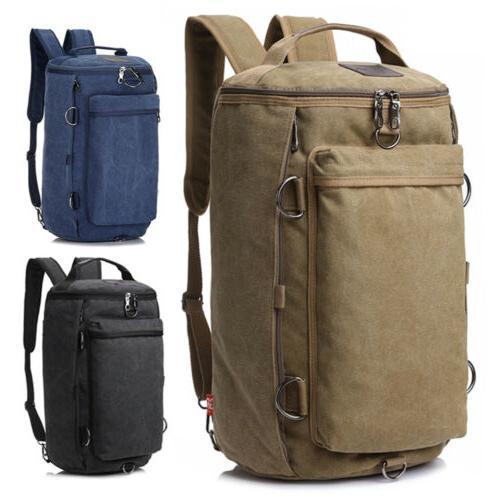 men canvas shoulder bag military backpack camping