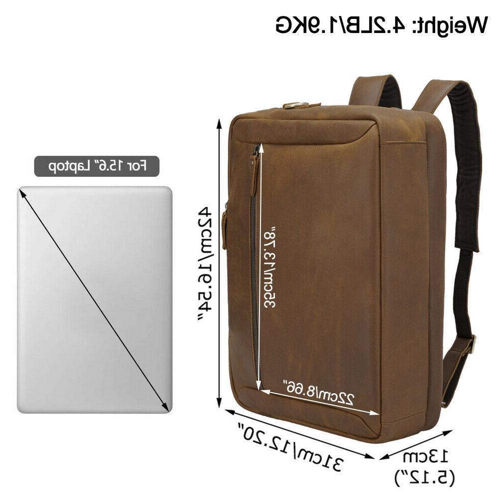 """Men Leather Backpack 17"""" Laptop Briefcase School Shoulder"""