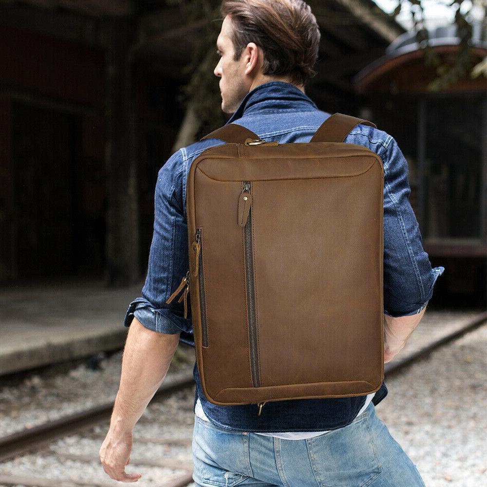Men Leather Backpack Laptop Briefcase School Bag Shoulder Travel