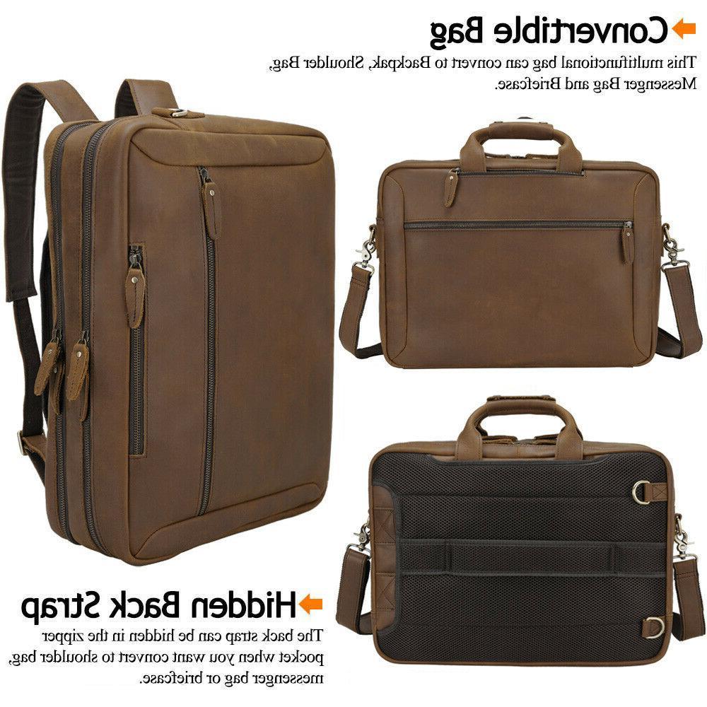 Men Leather Backpack Laptop Shoulder