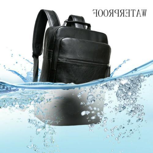 Men Leather Travel Knapsack College Business