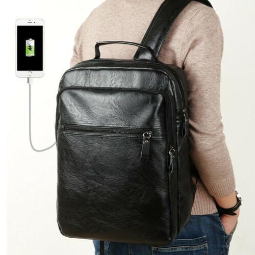 Men Leather Travel Knapsack Bag Laptop Business Rucksack