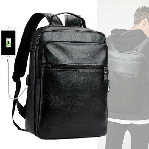 men leather backpacks travel knapsack college bag