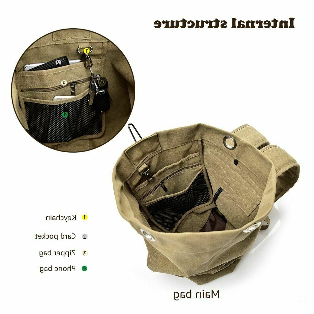 Men's Canvas Backpack Rucksack Hiking Military Handbag
