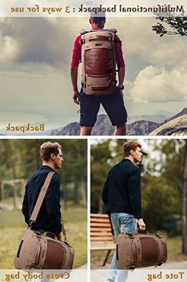 WITZMAN Men Travel Backpack Canvas Vintage Duffel